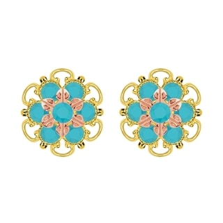 Lucia Costin Gold Over Silver Turquoise Crystal Stud Earrings