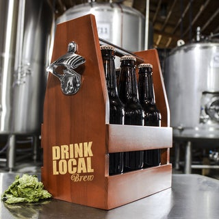Drink Local Wooden Craft Beer Carrier w/ Opener