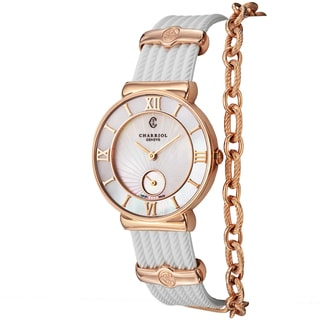 Charriol Women's ST30PI.174.010 'St Tropez' Mother of Pearl Dial White Rubber Strap Swiss Quartz Watch