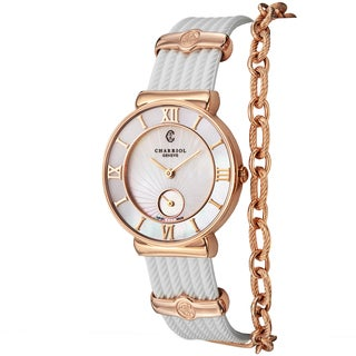 Charriol Women's ST30PI.174.010 'St Tropez' Mother of Pearl Dial White Rubber Strap Swiss Quartz Watch