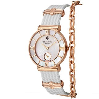 Charriol Women's ST30PI.174.010 'St Tropez' Mother of Pearl Dial White Rubber Strap Swiss Quartz Watch|https://ak1.ostkcdn.com/images/products/10122779/P17260994.jpg?impolicy=medium