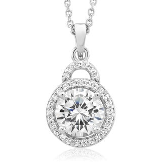 Rhodium-plated Round-cut Cubic Zirconia Necklace
