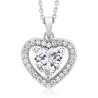 Rhodium-plated Heart-cut Cubic Zirconia Necklace