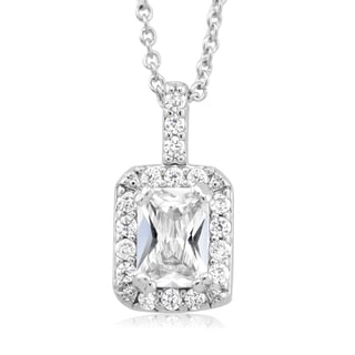 Rhodium-plated Emerald-cut Cubic Zirconia Necklace