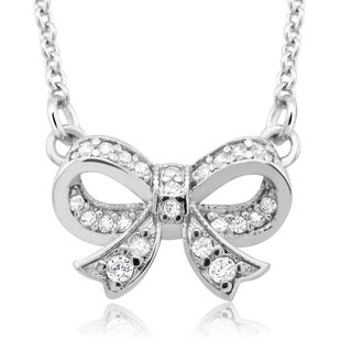 Rhodium-plated Cubic Zirconia Bow Necklace