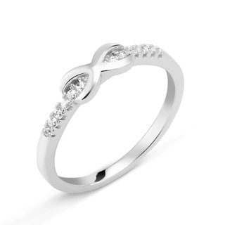 Sterling Silver Cubic Zirconia Infinity Midi Ring (Option: 2)