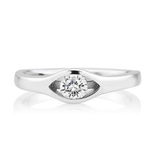 Sterling Silver Cubic Zirconia Split Setting Ring