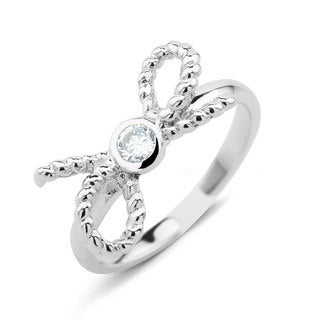 Sterling Silver Cubic Zirconia Bow Midi Ring (Option: 2)