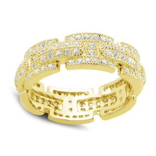 Goldplated Sterling Silver Micropave Cubic Zirconia Ring