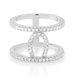 Sterling Silver Cubic Zirconia Double-row Horseshoe Ring