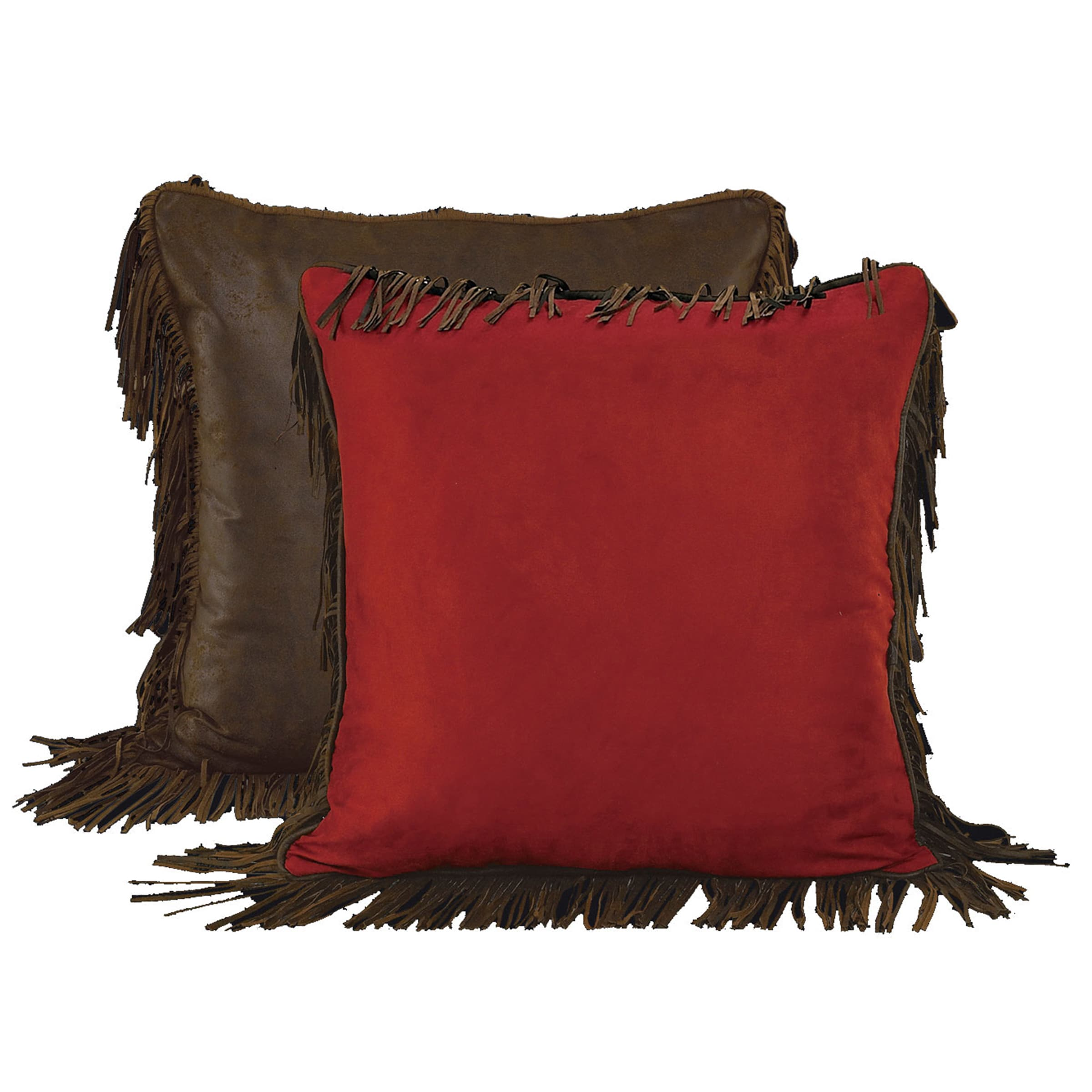 HiEnd Accents Red Faux Suede Euro Throw Pillow (Euro Sham...