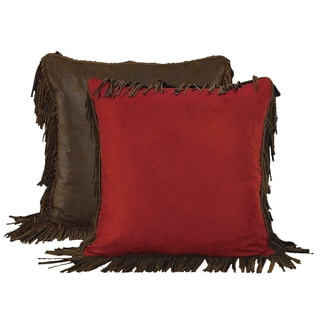 HiEnd Accents Red Faux Suede Euro Throw Pillow