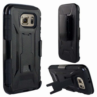 Insten Black/Purple Fusion Hard PC/ Silicone Dual Layer Hybrid Phone Case Cover with Holster For Samsung Galaxy S6