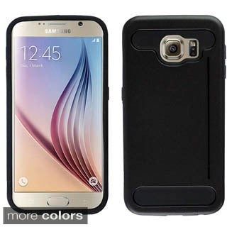 Insten Silver/Black Hard PC/ Silicone Dual Layer Hybrid Rubberized Matte Phone Case Cover with Card Slot For Samsung Galaxy S6