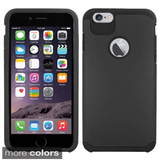 Insten White/Black Hard PC/ Silicone Dual Layer Hybrid Rubberized Matte Phone Case Cover For Apple iPhone 6 Plus