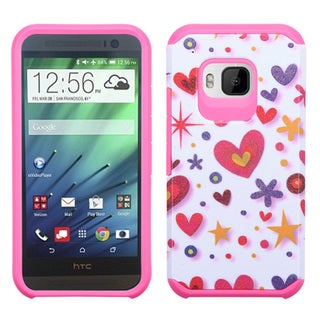 Insten Hot Pink/Black Butterfly Glittering Hard PC/ Silicone Dual Layer Hybrid Rubberized Matte Phone Case Cover For HTC One M9