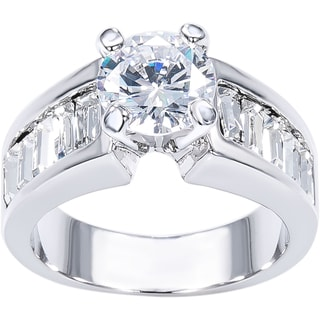 Simon Frank 1 3/4ct TDW Round Center with Channel-set Baguette CZ Bridal-Engagement inspired Ring