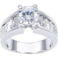 Simon Frank 1 3/4ct Round Center with Channel-set Baguette CZ Engagement/Anniversary Ring