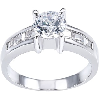 Simon Frank 1.03ct TDW Round Center with Channel-set Baguette CZ Bridal-inspired Ring