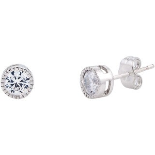 Simon Frank Silvertone Bezel-set Cubic Zirconia Stud Earrings