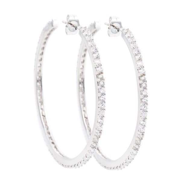 Simon Frank Silvertone Large Hand Set CZ Hoop Earrings