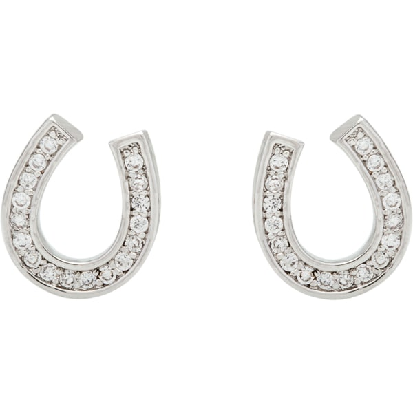 Simon Frank Silvertone Lucky Cubic Zirconia Horseshoe Earrings