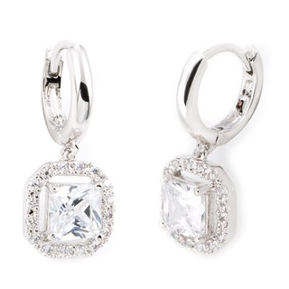 Simon Frank Collection 2.03ct TDW Hand-cut Princess Drop CZ Earrings