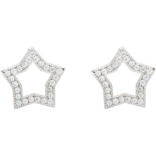Simon Frank Silvertone 'Beautiful Light Collection' Star Design Hand-set CZ Earrings
