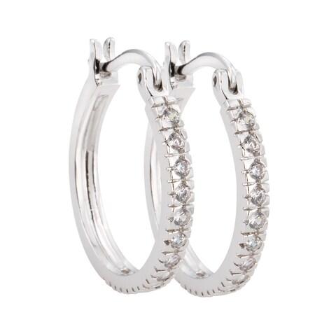 Simon Frank Silvertone Classic Hoop Cubic Zirconia Earrings