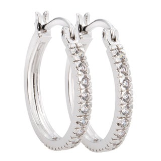 Simon Frank Silvertone Classic Hoop Cubic Zirconia Earrings