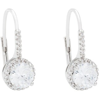 Simon Frank Silvertone Hand-cut CZ Halo Leverback Drop Earrings