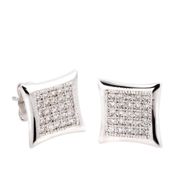 Simon Frank Silvertone Micropave Perfect Square CZ Earrings