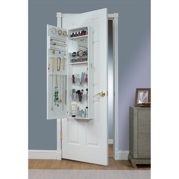 top doors armoire with mirrotek vanity organizers over door beauty the makeup organizer watch