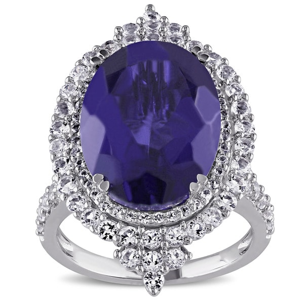 Miadora Sterling Silver Tanzanite Quartz and White Topaz Halo Cocktail Ring