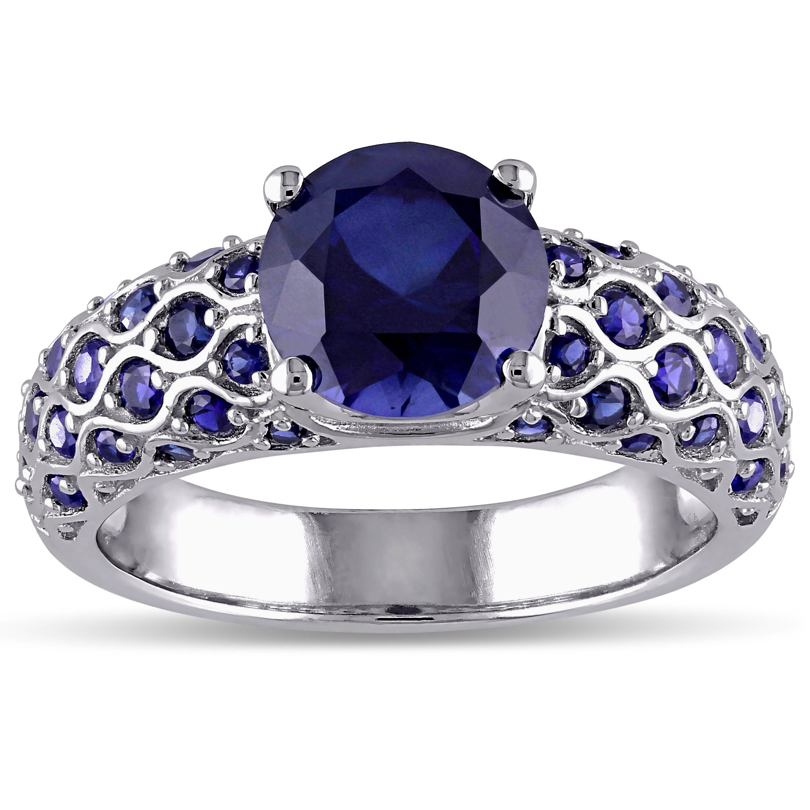 ring in engagement rings sapphire white wedding karat gold blue