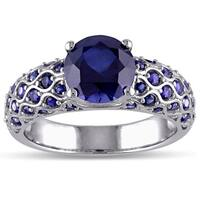 Miadora Created Blue Sapphire Engagement Ring in 10k White Gold