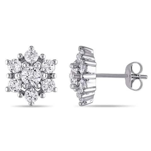 Miadora 10k White Gold Created White Sapphire Cluster Stud Earrings