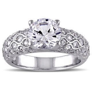 Miadora 10k White Godl Created White Sapphire Engagement Ring