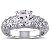 Miadora 10k White Gold Created White Sapphire Engagement Ring