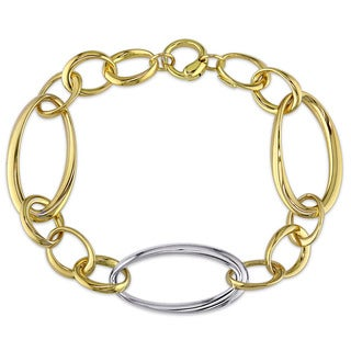 Miadora Signature Collection 18k Two-tone Gold Figaro Link Chain Bracelet