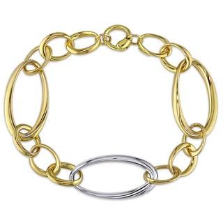 Miadora Signature Collection 18k Two-tone Gold Figaro Link Chain Bracelet