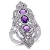 Miadora Sterling Silver Amethyst and 1/10ct TDW Diamond Ring (G-H, I1-I2)