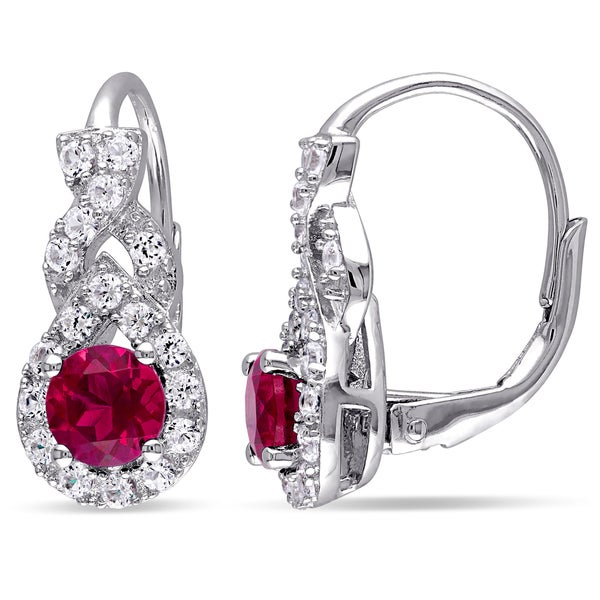 Miadora Sterling Silver Created Ruby and Created White Sapphire Earrings
