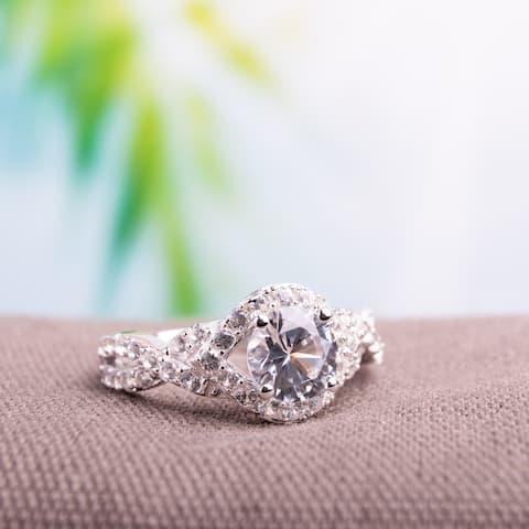 Miadora Sterling Silver Created White Sapphire Ring