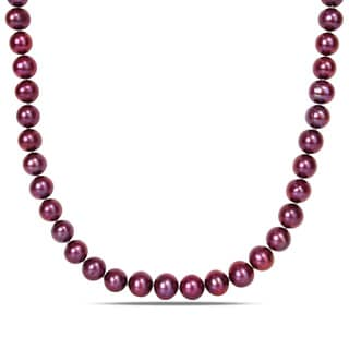 Miadora Sterling Silver Cultured Freshwater Cranberry Cultured Pearl Necklace (9-10 mm)