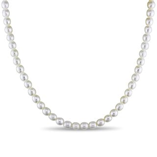 Miadora Silvertone Cultured Freshwater White Pearl Necklace (5-6 mm)