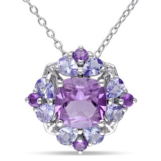 Miadora Sterling Silver Amethyst and Tanzanite Necklace