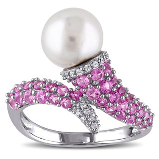 Miadora Sterling Silver Freshwater Pearl Created Pink Sapphire 1/10ct TDW Diamond Ring (G-H, I2-I3) (8-8.5 mm)