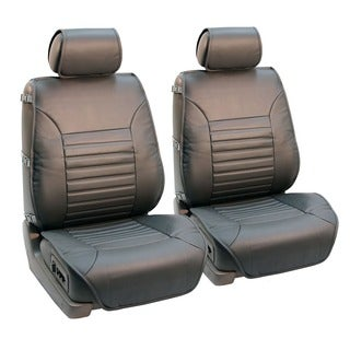 FH Group Grey Multifunctional Quilted Leather Seat Cushion Pads (Set of 2)
