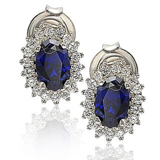 Suzy L. Sterling Silver 18k Gold Gemstone Earrings